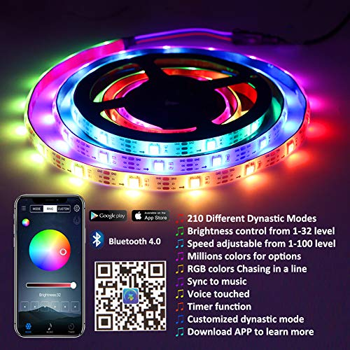 Xyop Led Strip Lights Sync To Music, Bluetooth Led Light Strip Smart Phone  App Controlled Strip Lights Kits Waterproof Led Strip Rope Lights,