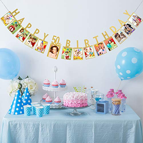 Happy 50th Birthday Fabulous Fifty 50 Years Photo Banner Gold Foiled For 50th Birthday Decorations Picture Bunting