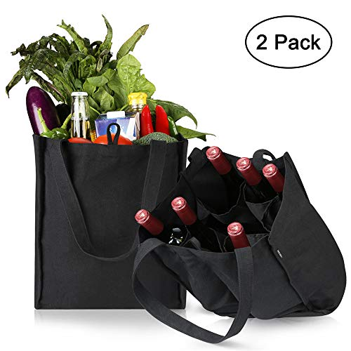 29130f16c250 Reusable Grocery Tote Bags, Hold 45+ Lbs - Large &Amp; Durable, Heavy Duty  Shopping Totes, Featured Separate 6 Bags Inside For Glass Wines, Bottles (2  ...