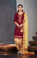 Silk Cotton Suit With Patiala Salwar and Fancy Dupatta in Red Color (K12)