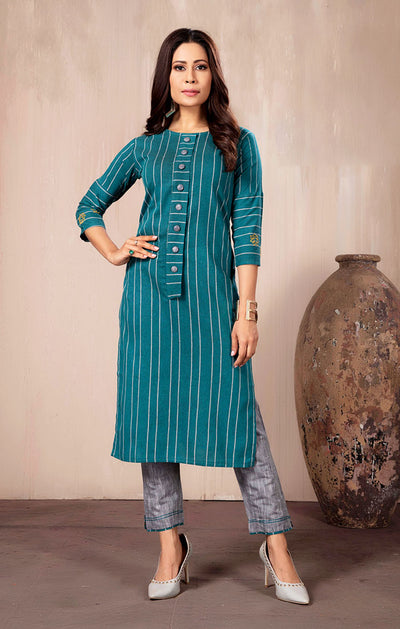 Cotton Kurti with Pant in Teal Color(K25)