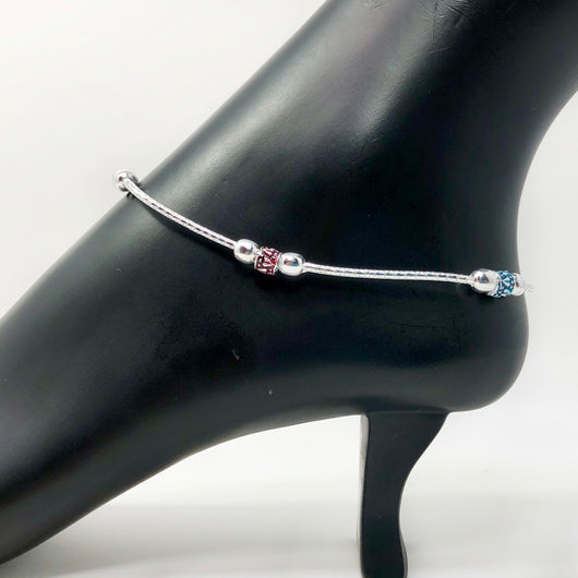Silver Anklet (K63 Design) - 10.5 inches
