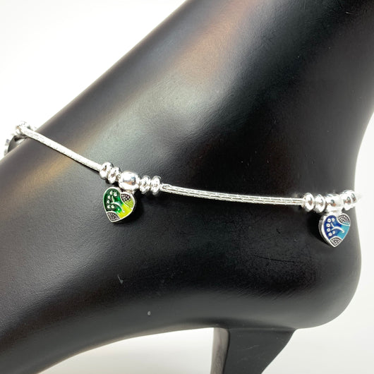 Silver Anklet (K74 Design) - 10.5 inches
