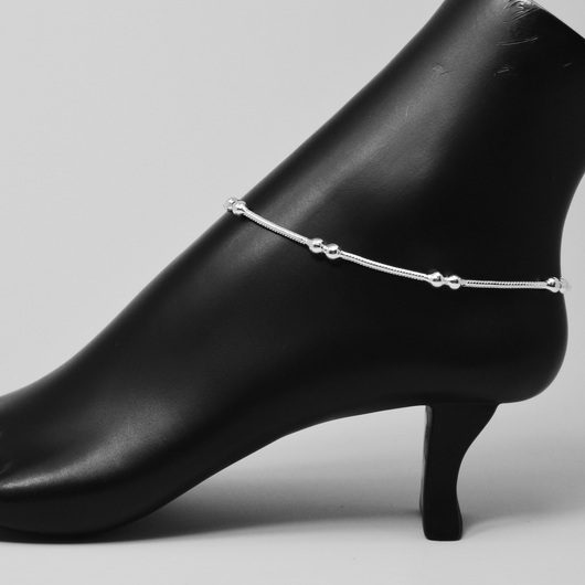 Silver Anklet (K8 Design) - 10.5 inches