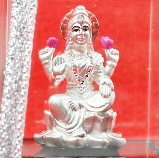999 Pure Silver Lakshmi Idol with Flowers
