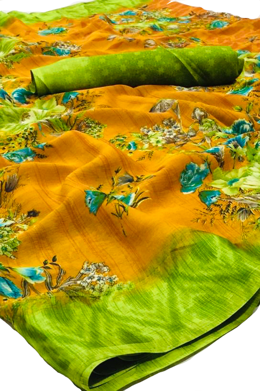 Marigold Color and green Floral Chiffon Saree