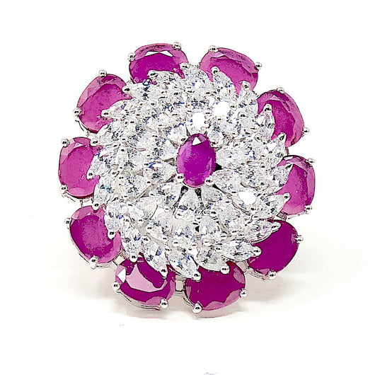 Floral American Diamond Large Ring