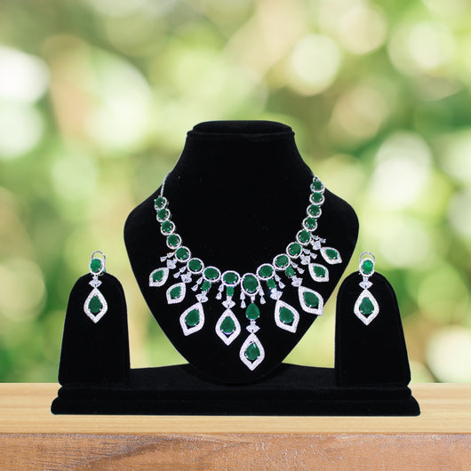 American Diamond Necklace Set with Earring (E14)