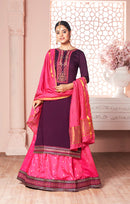 Long Suit With Lengha and Fancy Dupatta in Purple Color (K14)