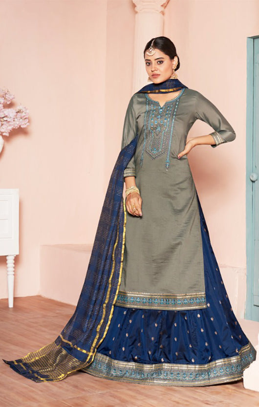 Long Suit With Lengha and Fancy Dupatta in Grey Color (K14)