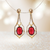 American Diamond Designer Earring in Red Color (E16)