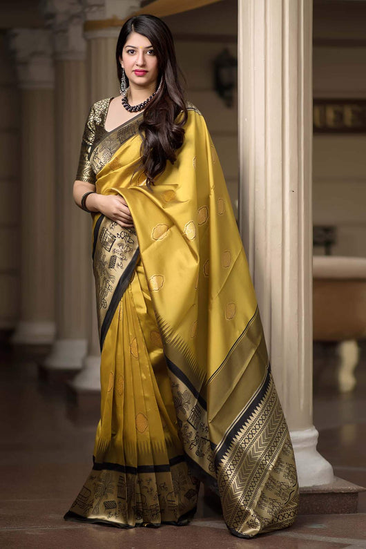 Banarasi Silk Designer Mustard and Black Color Saree