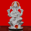 999 Pure Silver Ganesha Idol with Scarlet and Yellow Flower in Rectangular Base