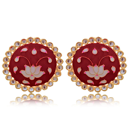 Red Lotus Design Studs
