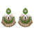 Designer Shamrock Green Semi-Circle Golden Earrings