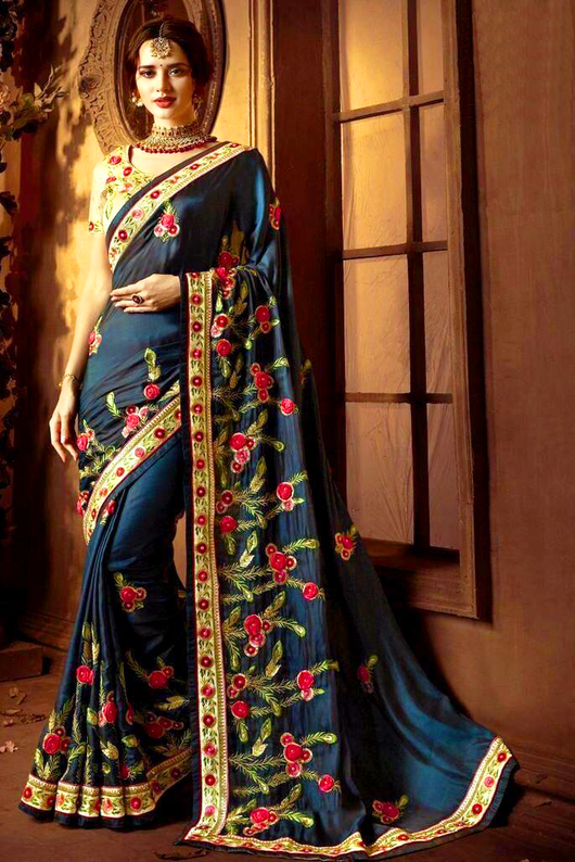 Designer Peacock Green Bridal Saree