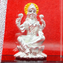 999 Pure Silver Lakshmi Idol with yellow headrest