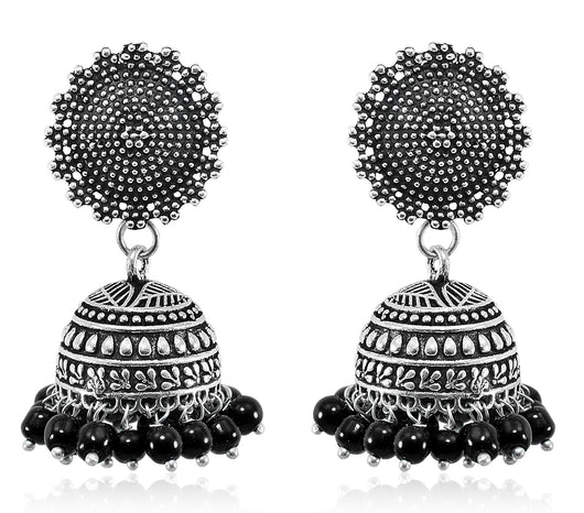 Black beaded Spades Designer Jhumki with sphere studs