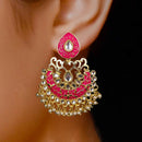 Designer Punch Pink Semi-Circle Golden Earrings