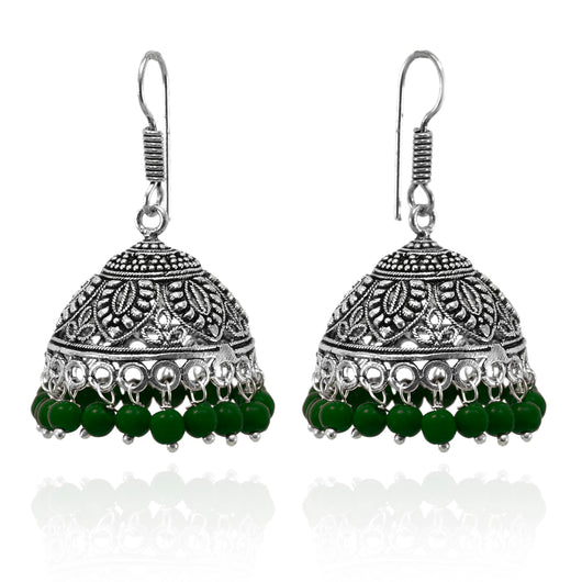 Leafy Designer Jhumki with Hook and Green beads