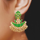 Designer Green Earrings with a Jumble of Beads