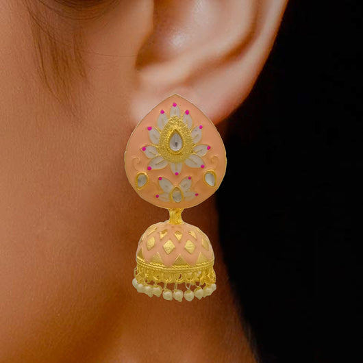 Baby Pink Jhumki with White Floral Design Teardrop Studs