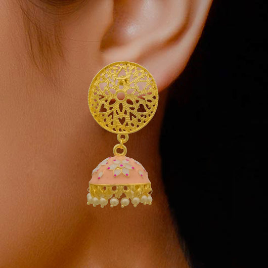 Floral Designer Baby Pink Jhumki with Intricate Studs