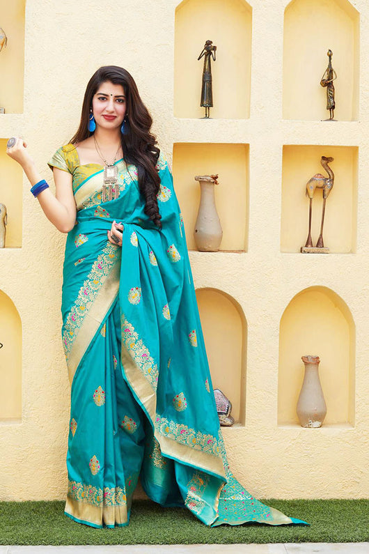 Banarasi Soft Silk Designer Turquoise Color Saree
