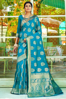 Sapphire Blue and Golden Floral Saree