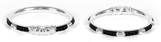 925 Black beaded Silver Bangle Set For 3 To 4 Years  Kids (Design 1)