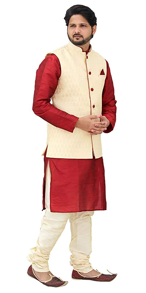 Designer Silk Kurta Pajama with Waist Coat (D14)
