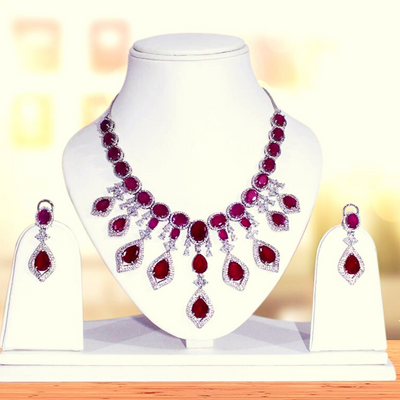 American Diamond Necklace Set with Earring (E15)