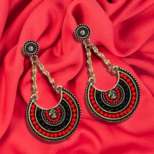 Black and Red Beaded, Silver Chain Earrings