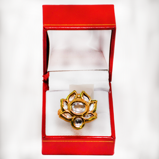 Unique Gold Plated Kundan Ring