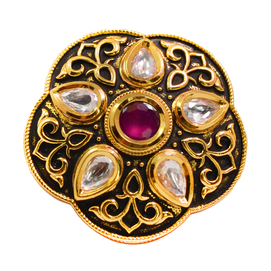Large Black Kundan Adjustable Ring