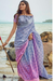Soft Silk Linen Ombre Pink, Blue, and Purple Linen Saree