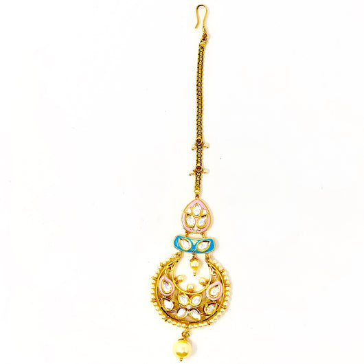 Chandbali Style Gold Plated Pink/Blue Maang Tika