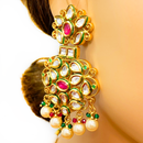 Gold Plated Semi-Precious Emerald and Ruby Kundan Set