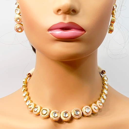 Gold Plated Single Line Baby Pink Kundan Set
