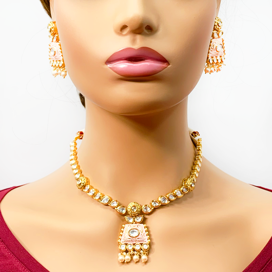 High Quality Gold Plated Baby Pink Kundan Set