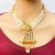 Beaded Gold Plated Brown and Red Kundan Set