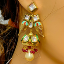 Gold Plated Mint Kundan Set