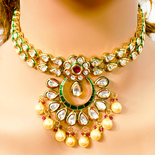 Gold Plated Kundan Designer Set