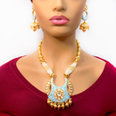 Gold Plated Kundan Baby Blue Necklace Set
