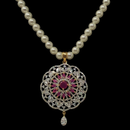 Pearl American Diamond Ruby Pendant Set (Design 1)
