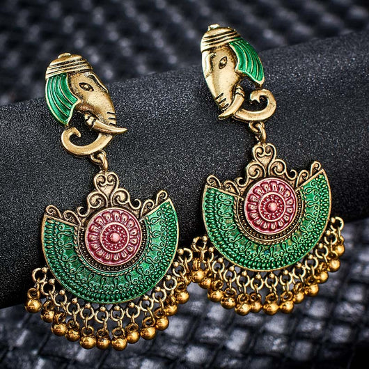 Elephant Design Green Pink Earrings