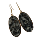 Natural Stone Black Oval Earring