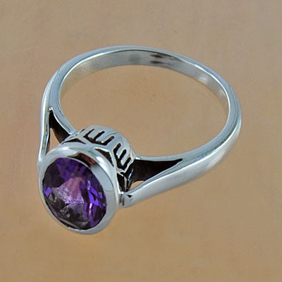 925 Sterling Silver Amethyst Gemstone Ring (D17)