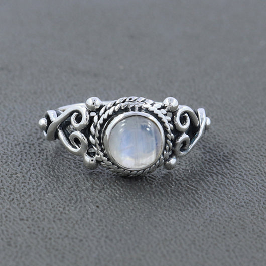 925 Sterling Silver Rainbow Moonstone Gemstone Ring (D30)