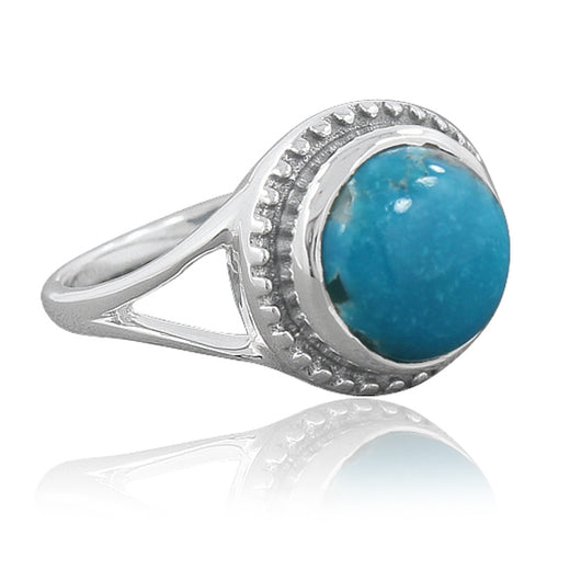 925 Sterling Silver Mexican Turquoise Gemstone Ring (D60)